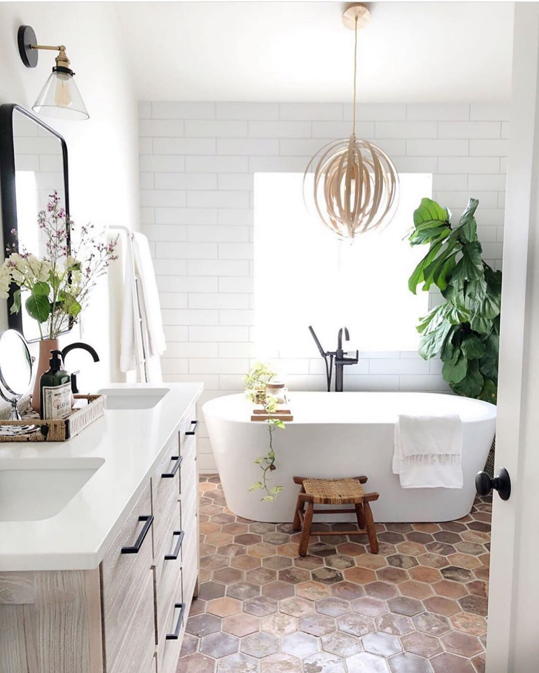 Mid Century Boho Farmhouse On Instagram Seriously Gorgeous Bathroom By Kdiondesign Just H Top 10 Bathroom Designs Bathroom Design Trends Bathroom Decor