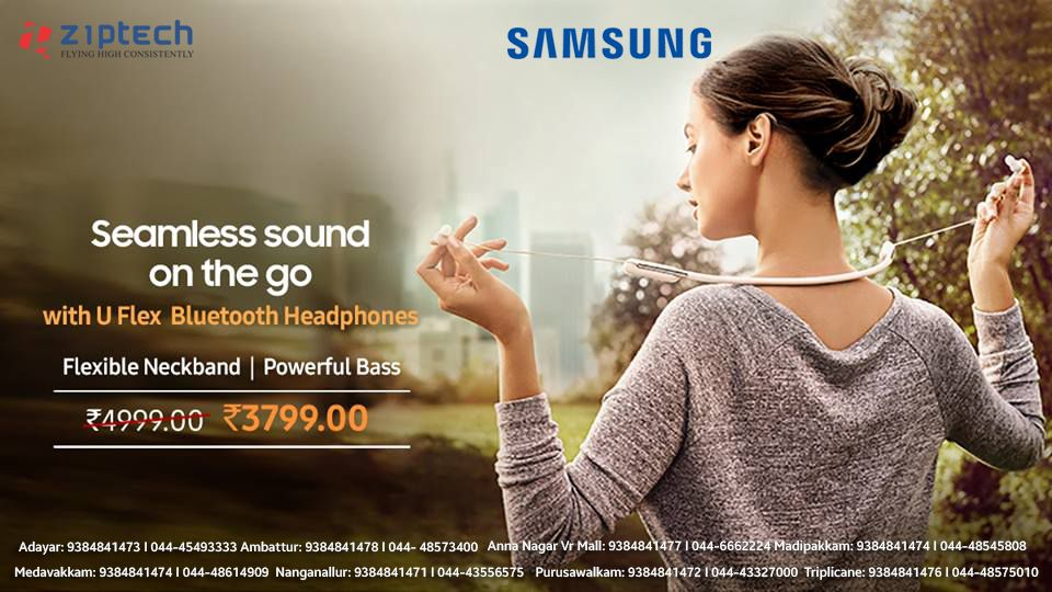Buy Flexible Neckband And Powerful Bass Samsung U Flex Bluetooth Headphones Now At Just Rs 3799 Grab This Pric Bluetooth Headphones Samsung Store Bluetooth