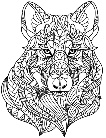 Wolf Head Zentangle Coloring Page In 2020 Animal Coloring Pages Abstract Coloring Pages Coloring Pages