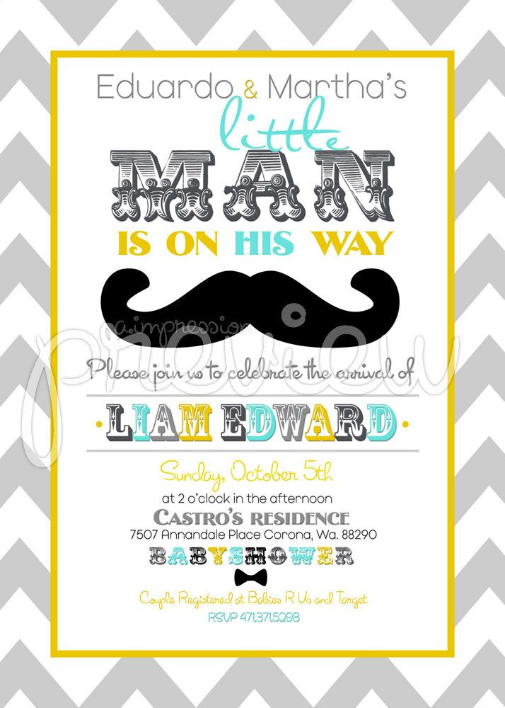 showers boy shower mustache party little man baby shower invitations