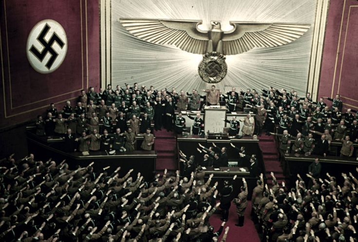 Adolf Hitler at Kroll Opera House in Berlin, 1939. Photo by Hitler's personal photographer, Hugo Jaeger.