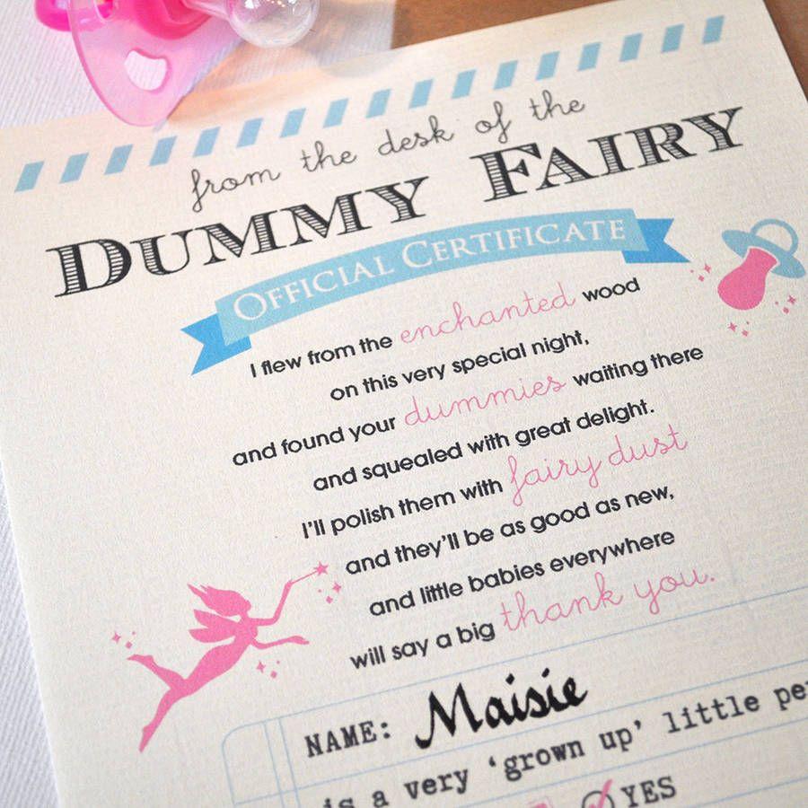 Personalised dummy fairy certificate certificate fairy and parents personalised dummy fairy certificate xflitez Choice Image