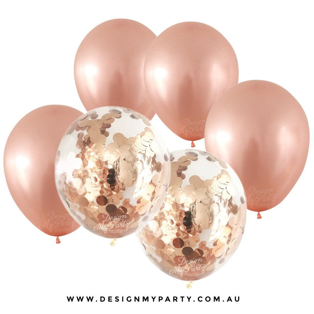 16 Rose Gold And Copper Details For Stylish Interior Decor: Confetti Balloon Bouquet (12 Pack