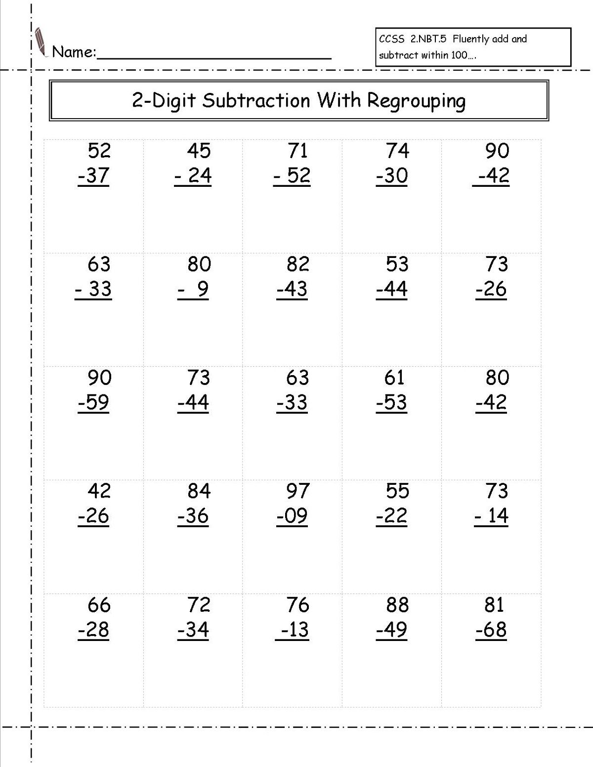 2 Digit Subtraction With Regrouping Worksheets 2nd Grade