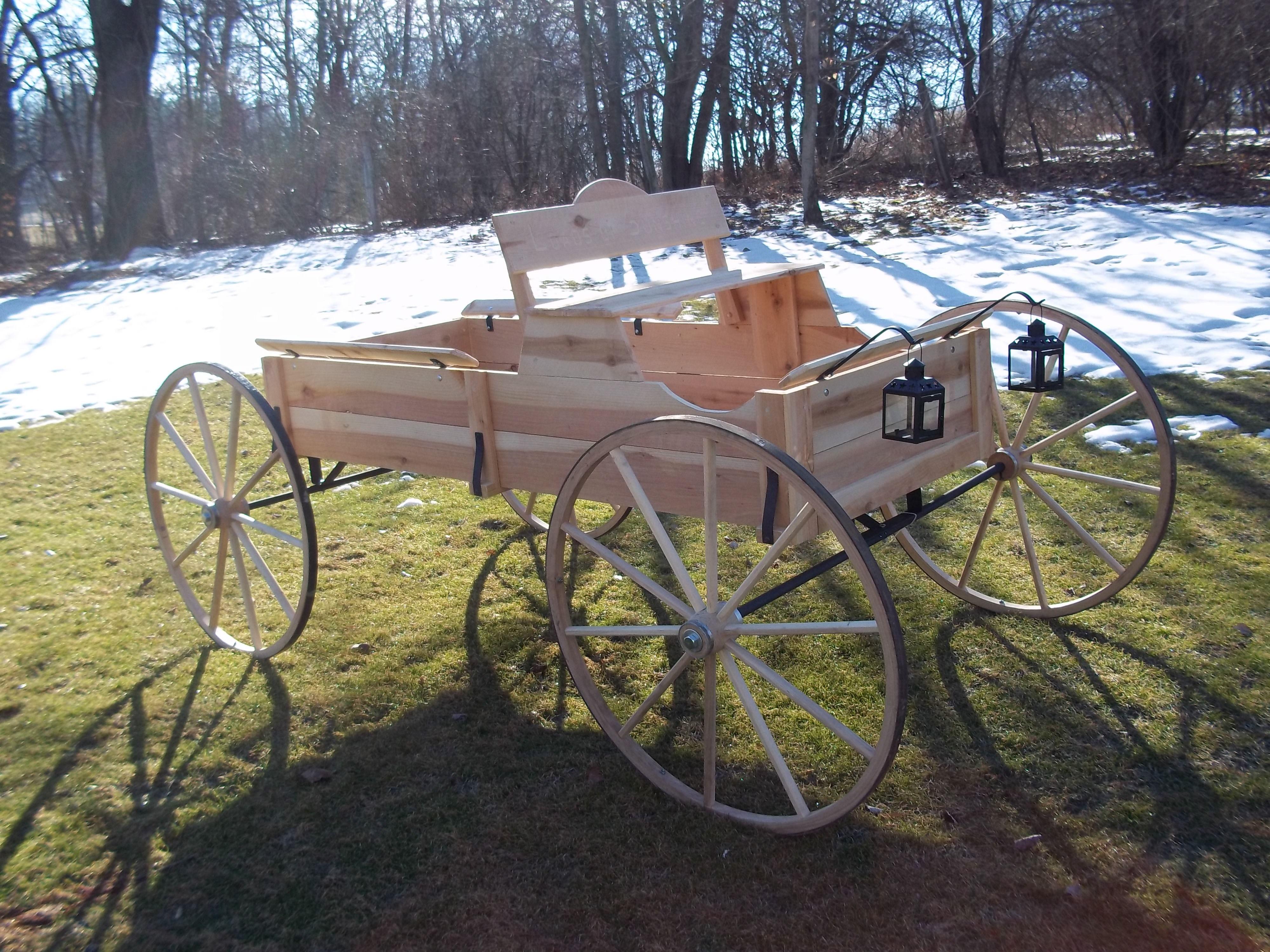 "Full Size Cedar Buckboard Wagon With 32"" Amish Hickory"