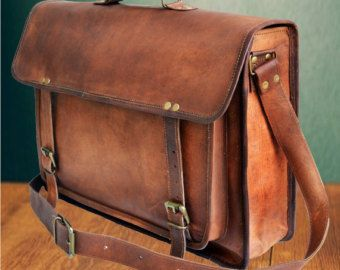 Stylish small leather messenger bag satchel handbag by CueroShop