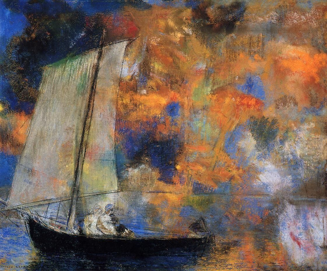"""""""Flower Clouds"""" by artist Odilon Redon, 1903, pastel on paper 44 x 54cm, Art Institute of Chicago, IL USA"""