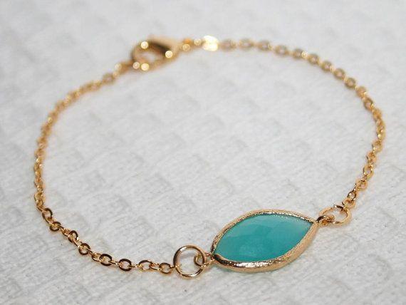 Mint blue Bracelet Dainty Gold chain bracelet cool by AngelPearls,
