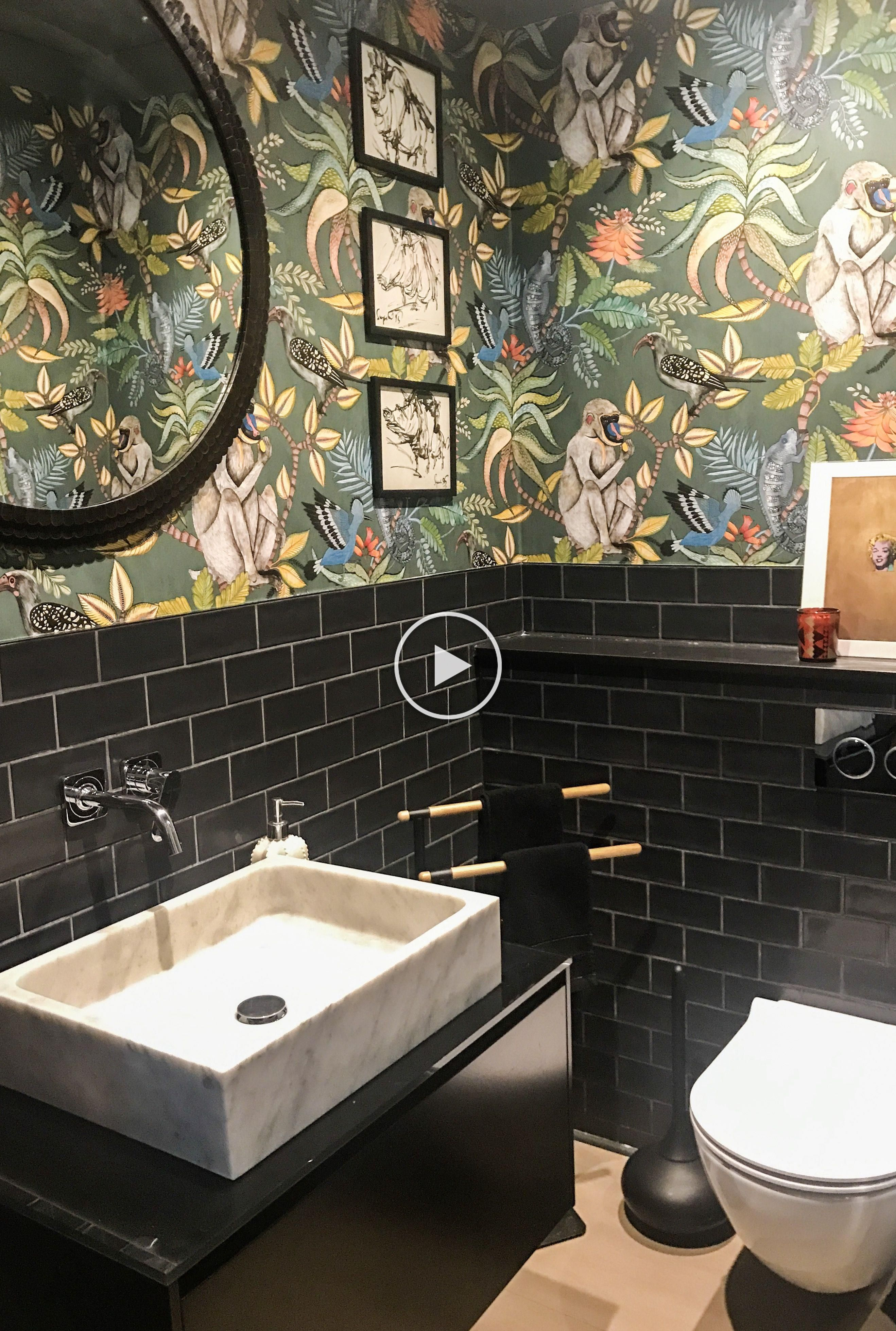 What Better Way To Add Interest To A Bathroom Wall Than With Trendy Jungle Inspired Wallpaper The Savuti Design Bathroom Wallpaper Guest Toilet Downstairs Loo