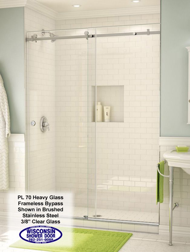 White Subway Tile Shower With Double Glass Doors Shower Doors