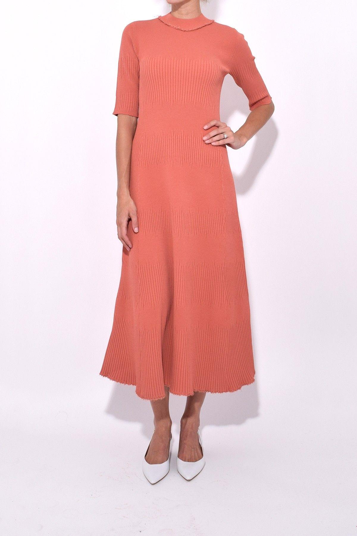 Proenza Schouler Short Sleeve Knit Dress In Desert Knit Dress Dresses Vintage Fashion [ 1800 x 1200 Pixel ]