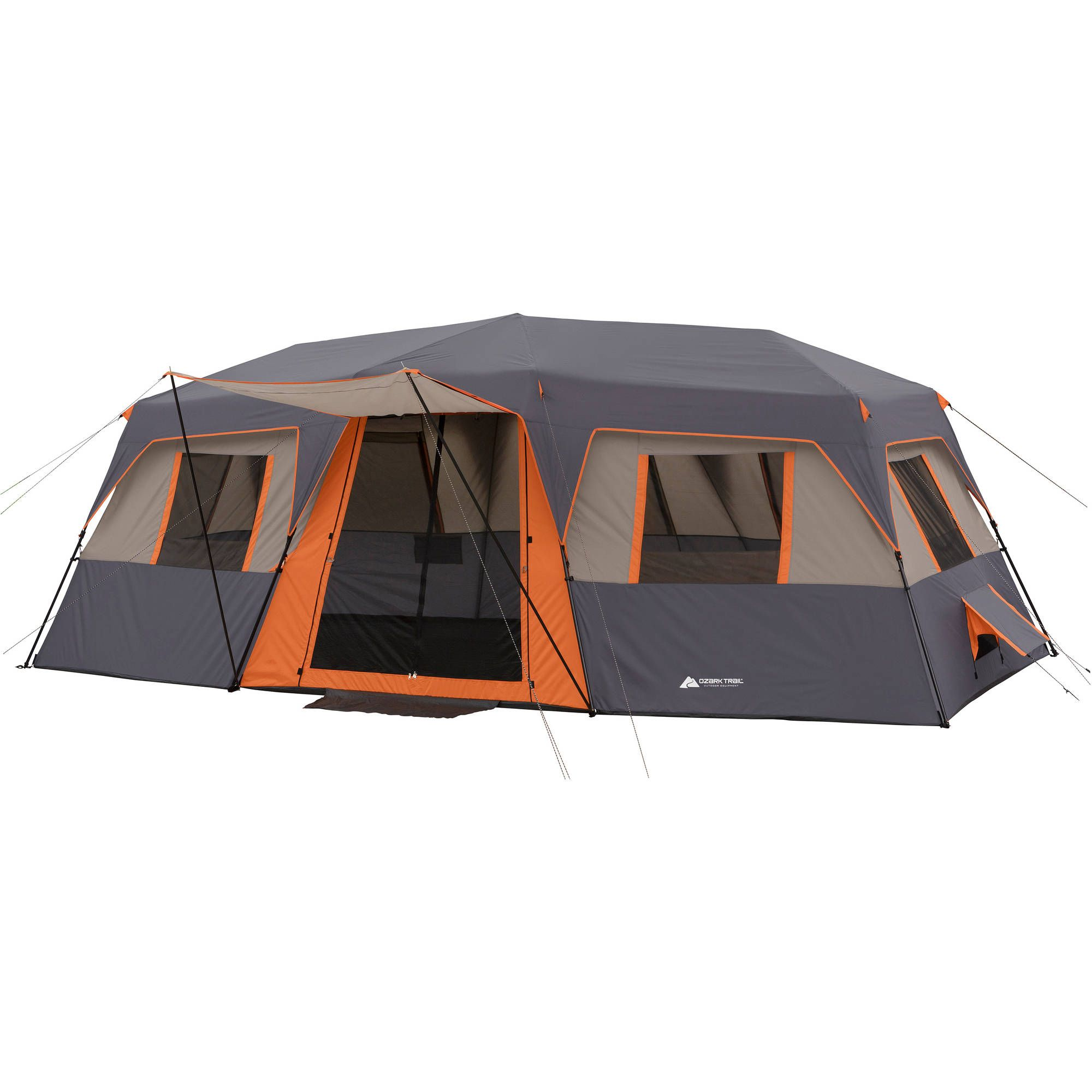 Ozark Trail 12 Person Instant Cabin Tent with Two Queen Airbeds c&ing warm  sc 1 st  Pinterest & Ozark Trail Instant 20u0027 x 10u0027 Cabin Camping Tent Sleeps 12 ...
