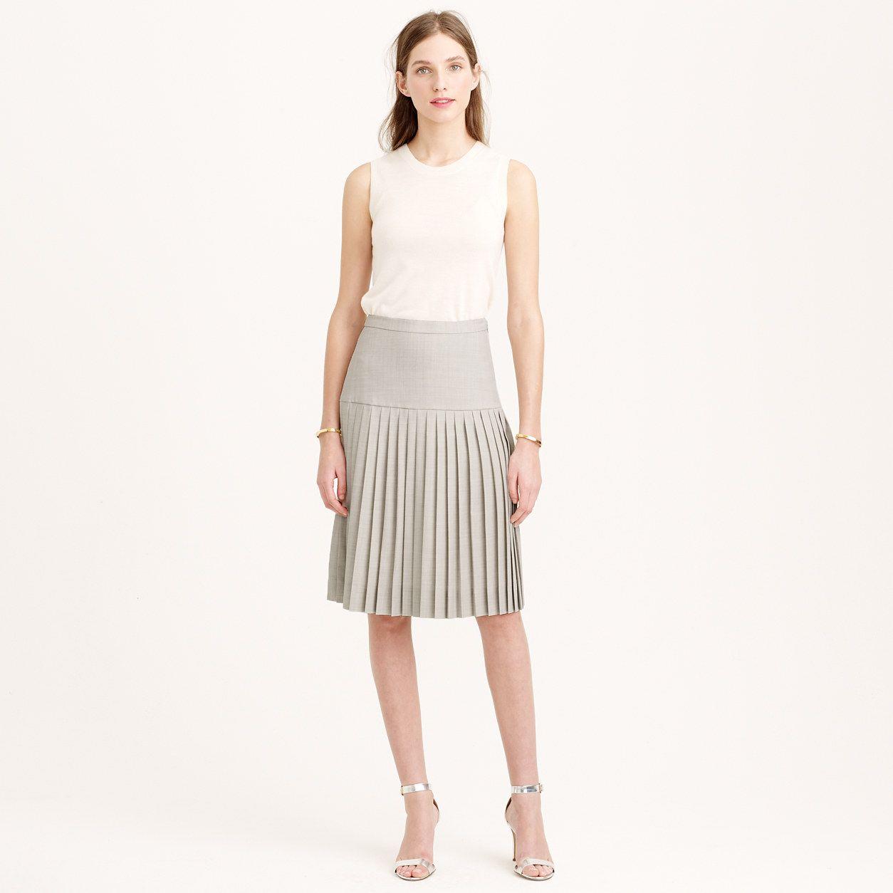 67174e389 Drop-waist pleated skirt in Super 120s wool : A-line/Midi | J.Crew ...