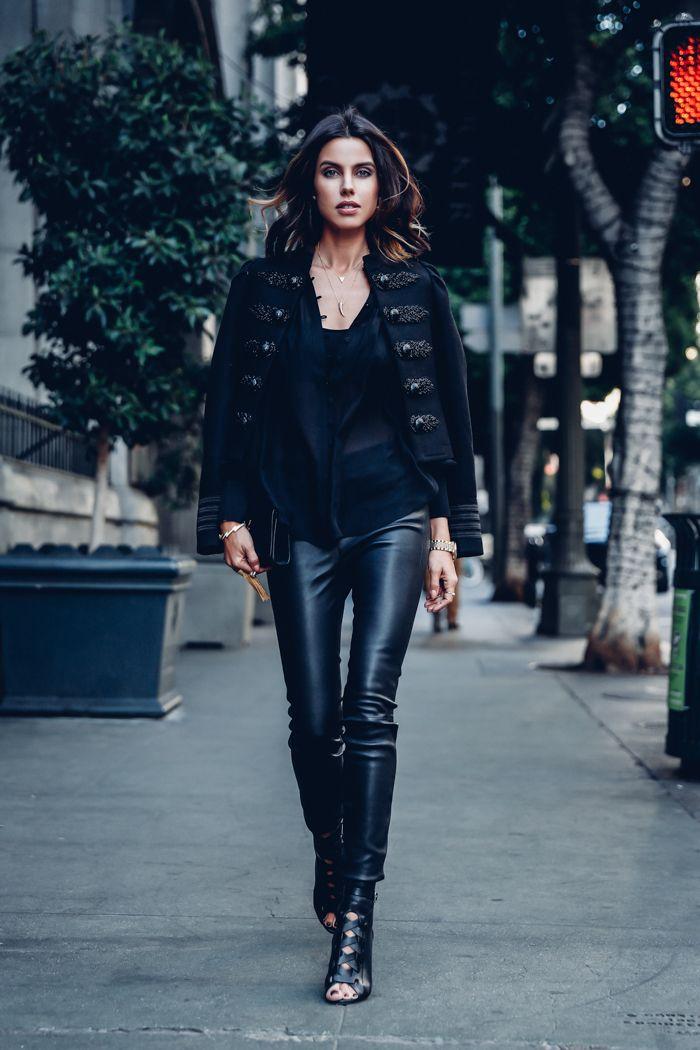 2376beec420 black band jacket + black sheer blouse + black leather pants + black heels