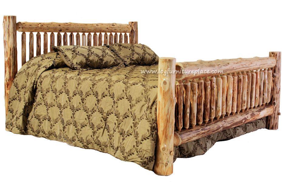 King size pine log bed (light wood) Log bed frame, Bed