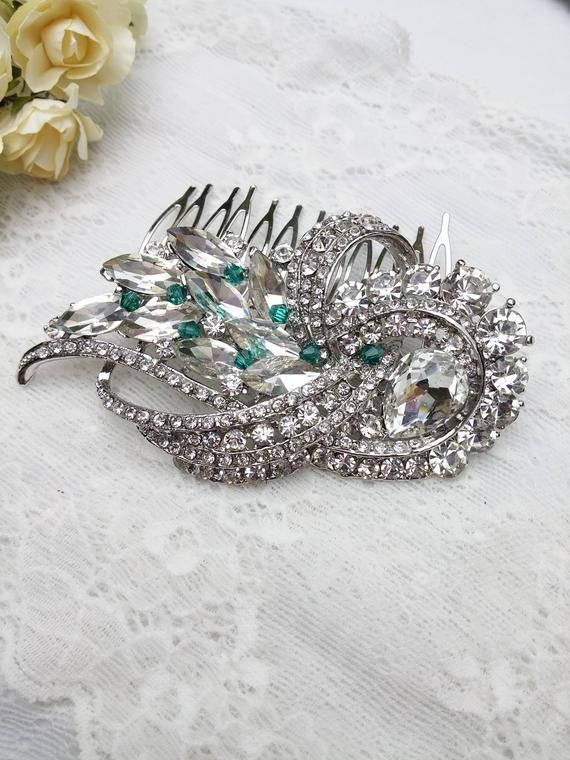 SALE Emerald crystal Hair Comb, green wedding hair piece, Flapper hair, Big wedding hair comb, Large bridal comb, emerald green bride 53