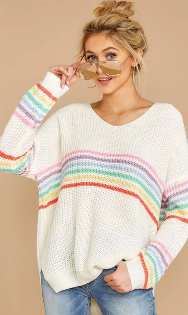 Womens Multi colour jumper by next Ladies v neck low back pullover size S