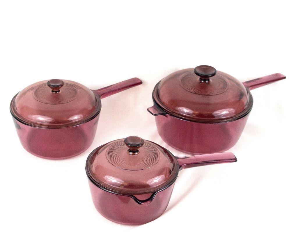 Corning Visions Cookware Set Of 3 Pots And 3 Lids 2 5l 1 5l 1l