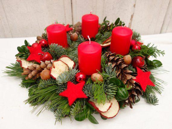 adventskranz rot adventskr nze weihnachtsdeko natur etsy. Black Bedroom Furniture Sets. Home Design Ideas