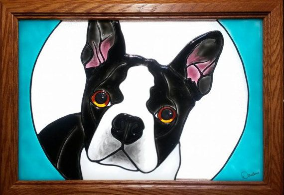 Boston Terrier Dog Window Art faux stain glass painted glass sun catcher pet bostie AKC French Bulldog Frenchie gift decoration