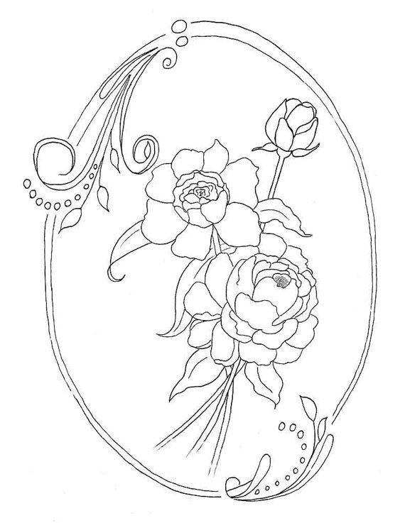 Peony Coloring Page Instant Download Peonies Flower Coloring Page