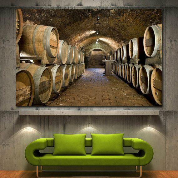 Wine Cellar Barrels Home Wall Decor Art Canvas by CanvasDenCom ...
