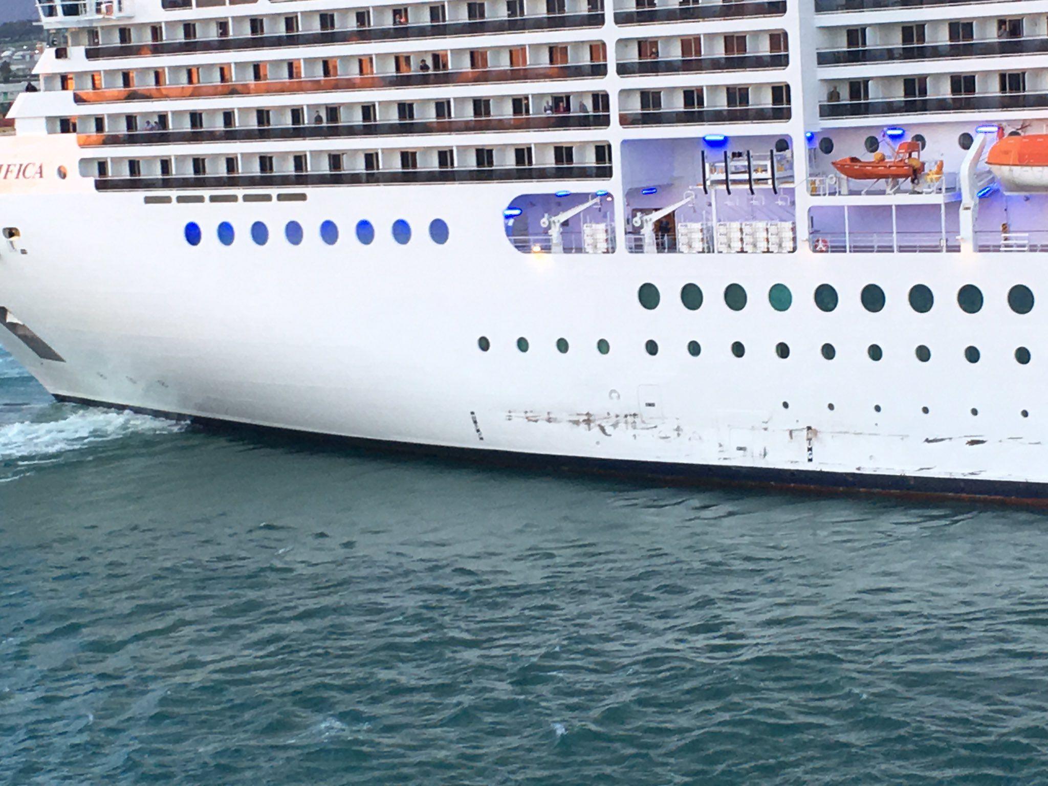 Msc Cruise Ship Damaged After Colliding With Quayside Msc Cruises Cruise Ship Civitavecchia