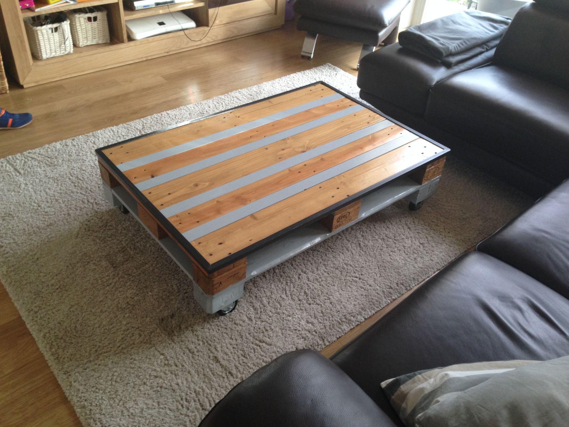 table basse industrielle palette bois et métal : meubles et