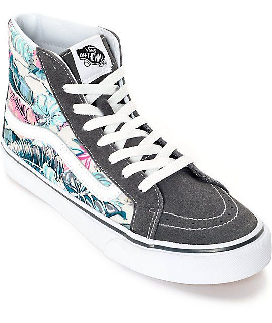 1310444b801a Instantly improve your kicks game with a slim update to a classic high top  silhouette that features a floral print canvas upper and grey suede toe and  vamp ...