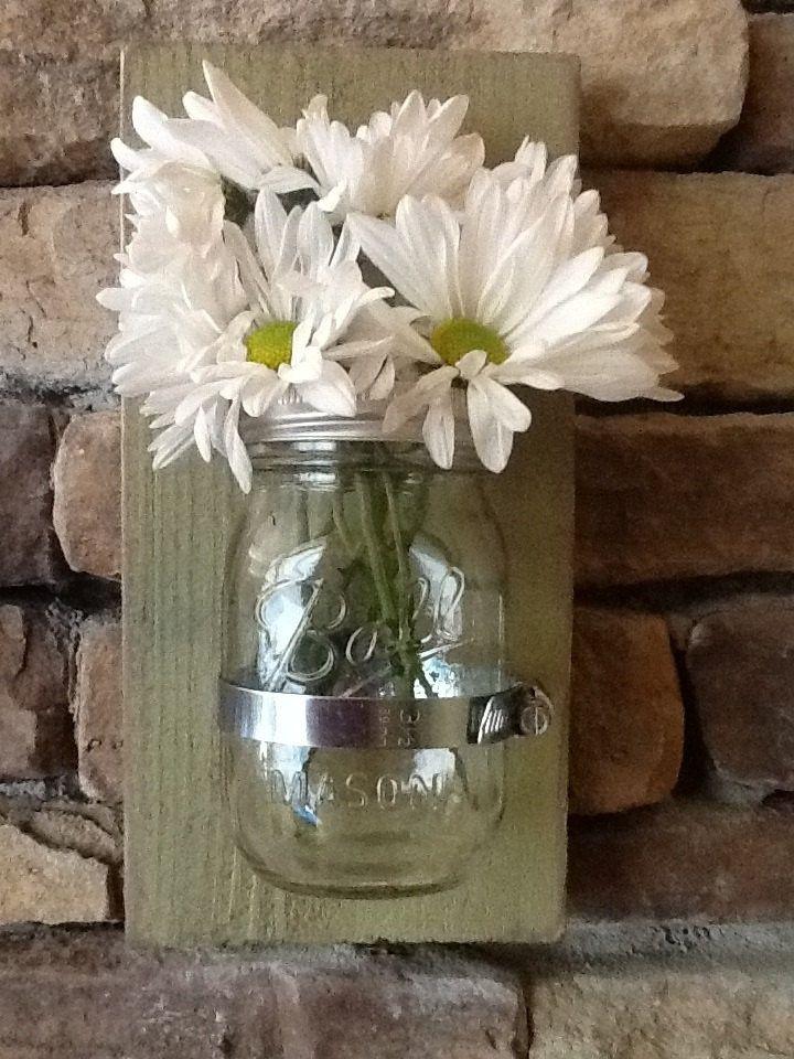 Mason jar rustic wood wall sconce, shabby chic or costal