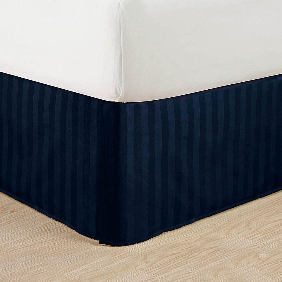 Elegant Comfort Stripe California King Bed Skirt In Navy Blue Navy