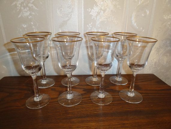 Vintage 1970 39 s 1980 39 s lenox crystal intrigue pattern gold rim wine glasses matching set 8 - Lenox gold rimmed wine glasses ...