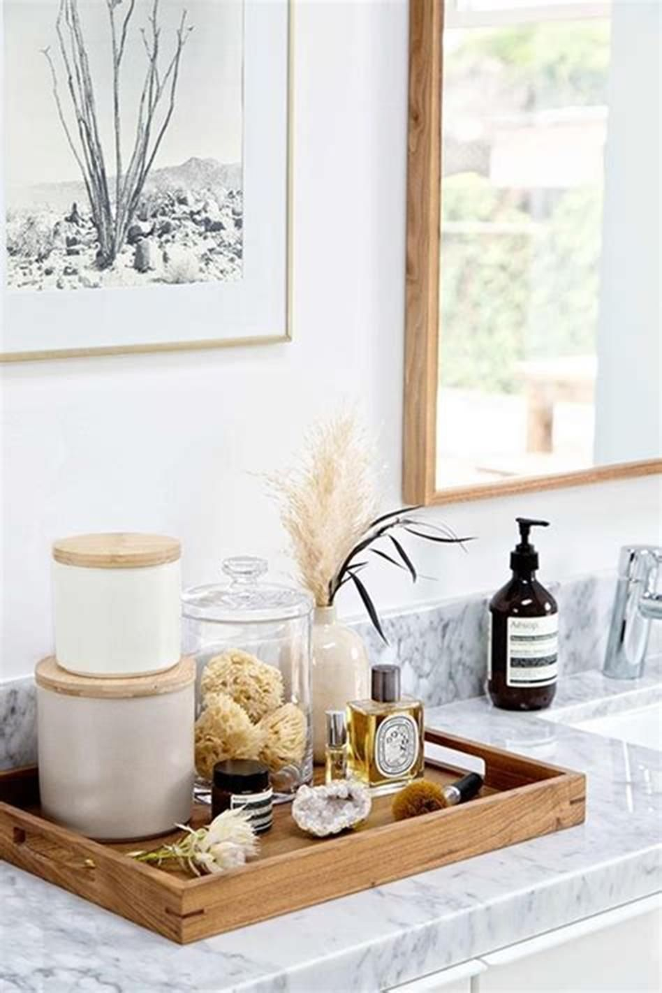 40 Beautiful Bathroom Vanity Tray Decor Ideas 8 Bathroom Vanity Tray Vanity Tray Decor Modern Bathroom Organizers