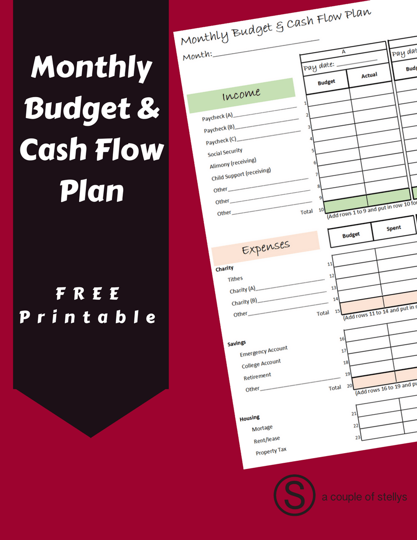 download the free printable monthly budget cash flow plan to help