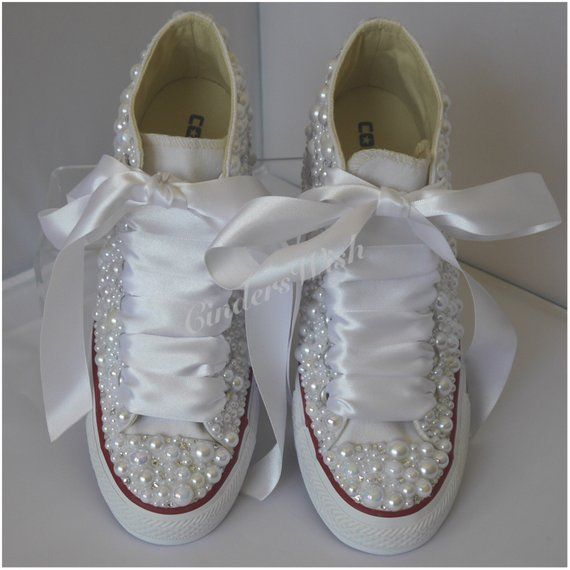 Converse Wedge Luxury pearl sparklers / All over converse / Bridal ...