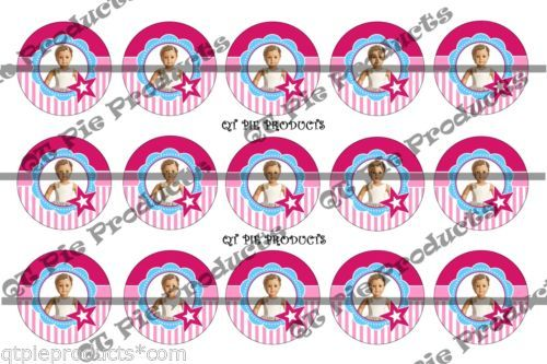 15 Precut 1 inch bottle cap images Inspired American Girl Isabelle bow cupcake