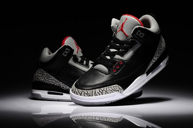 on sale 49394 d7faa Nike Air Jordan 3 Retro 88 Black Cement Grey Varsity Red Shoes