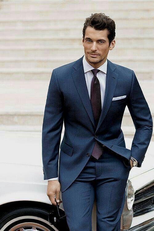 david gandy in a navy suit with a purple silk tie white shirt with a  david gandy in a navy suit with a purple silk tie white shirt with a white pocket square super crisp combo davidgandy davidgandystyle suit menswear