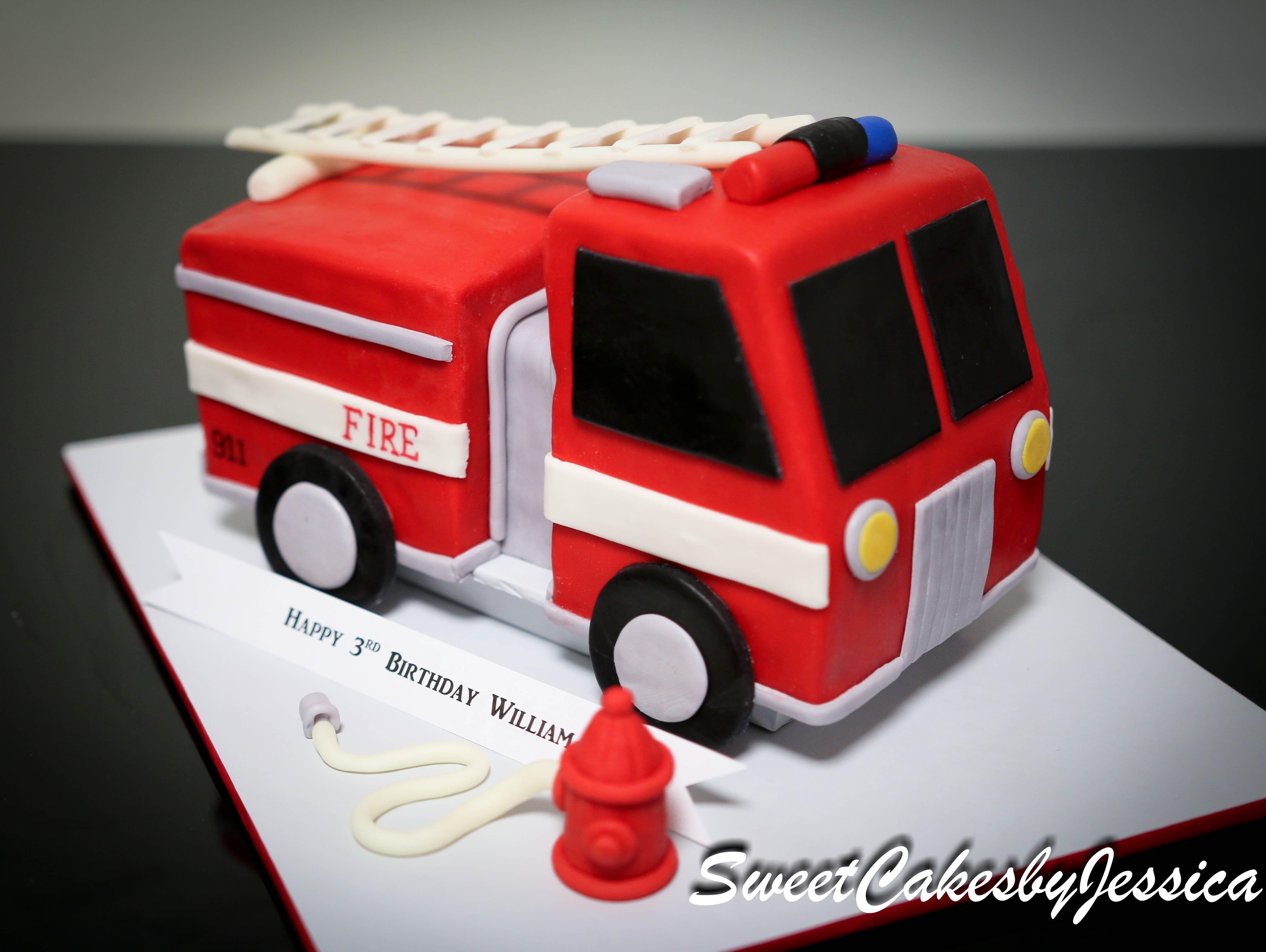 Cool Fire Truck Birthday Cake Fire Truck Cake Boys Birthday Party Cake Funny Birthday Cards Online Overcheapnameinfo