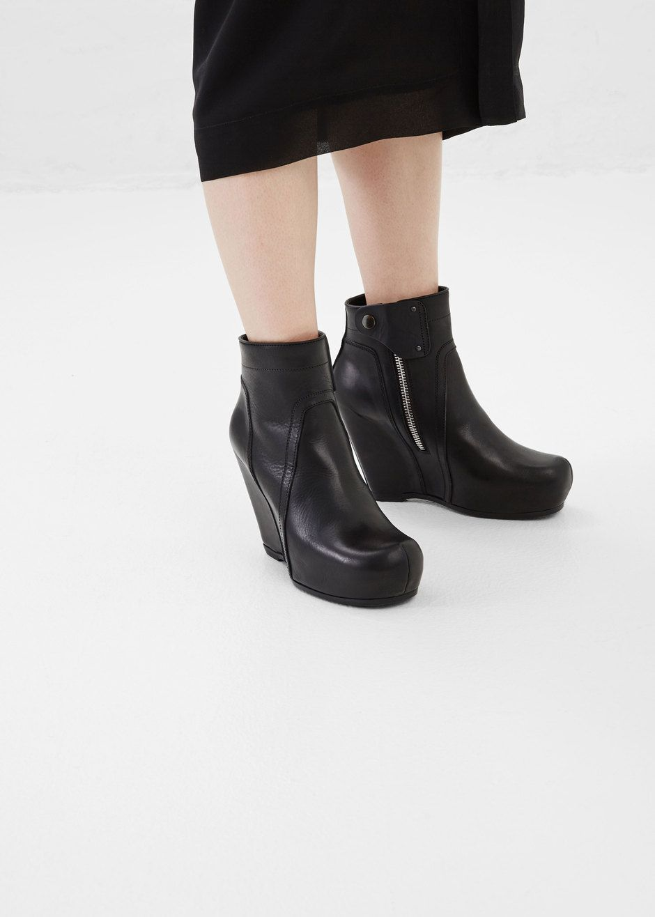 Fashion · Rick Owens Smooth Leather Basic Wedge (Black)