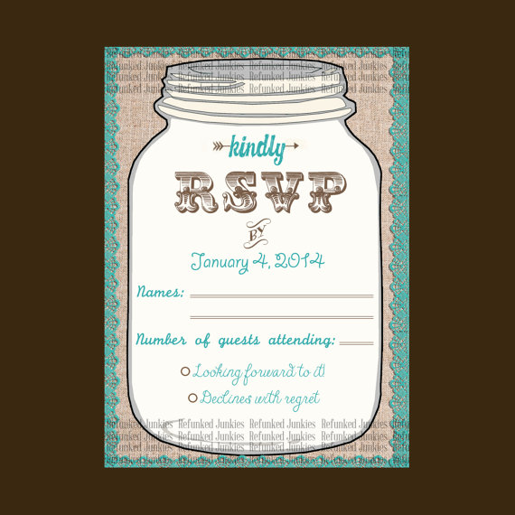 template mason jar rsvp card teal rustic wedding burlap lace jar