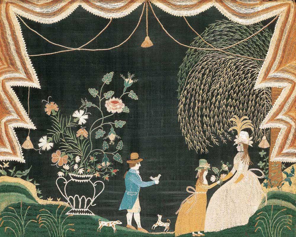 Needlework Picture I American Folk Art I Sallie Hathaway (1782–1851) I Probably Massachusetts or New York I ca. 1794 I Silk on silk