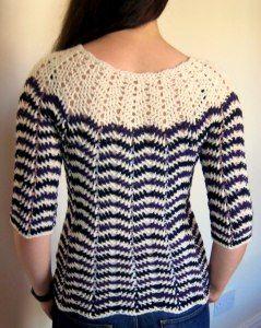 7f58461e44ed Chevron stripes 3-season sweater - free crochet pattern