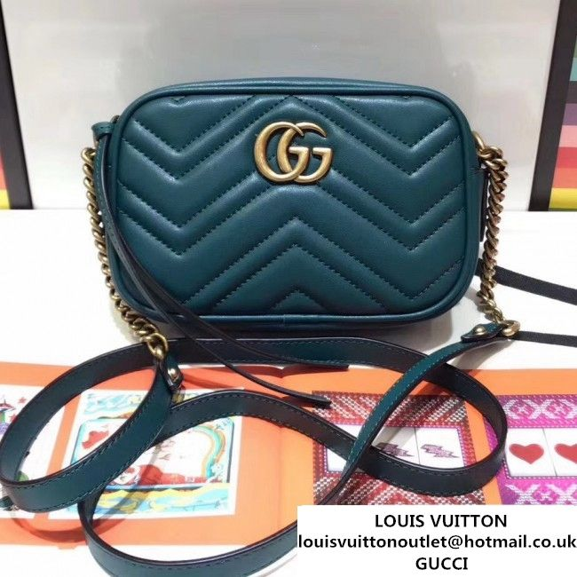 c7302ed543f Gucci 448065 GG Marmont Matelass Chevron Mini Chain Shoulder Camera Bag  Green 2017 (SPM-7092814 )