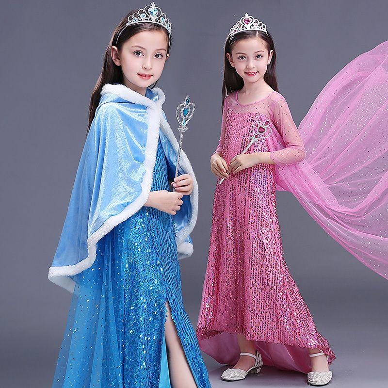 2018 Children Fancy Girls Snowflake Fantasia Elsa Costume Kids ...