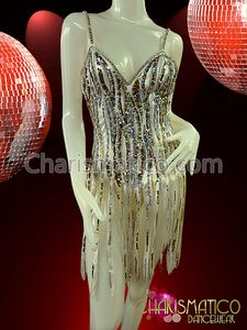 CHARISMATICO Silver sequined Latin dance dress with long white fringed skirt