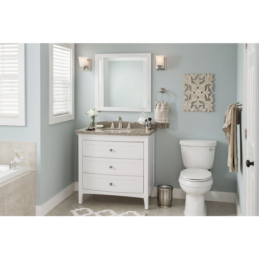 bathroom mirrors shop allen roth brisette 30in w x 30in h cream square