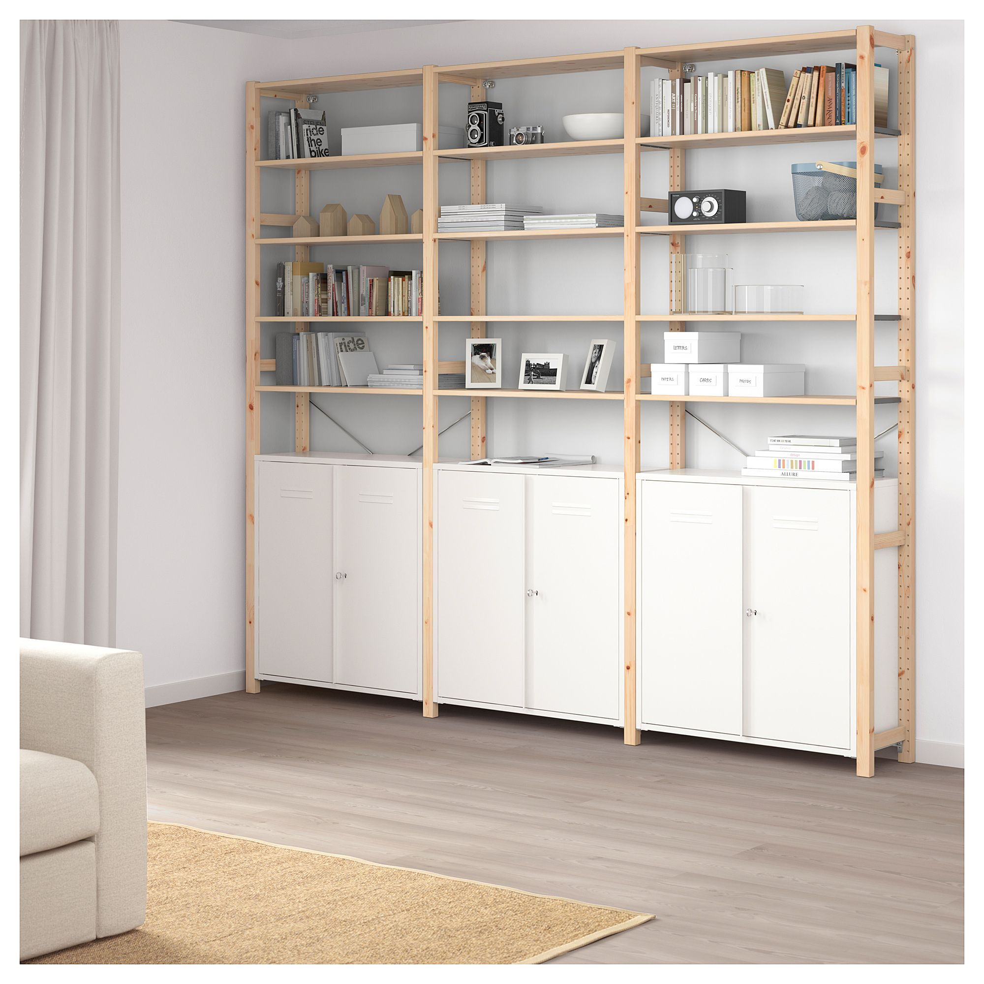 the best attitude 99baf f3179 IVAR 3 sections/cabinet/shelves - pine, white | Products in ...