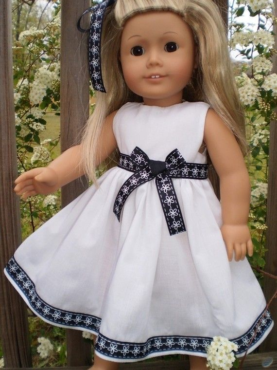 Black and white dress 18 Doll Clothes American Girl  by sassydollcreations,