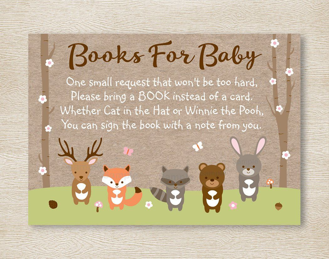 Pink Woodland Forest Animal Baby Shower Book Request Cards / Woodland Baby Shower / Spring Woodland Animals / INSTANT DOWNLOAD A209